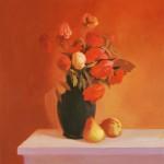 Пионы и розы на красном фоне